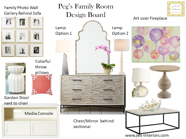 A New JWS Interiors Project: Pretty Family Room Design Board