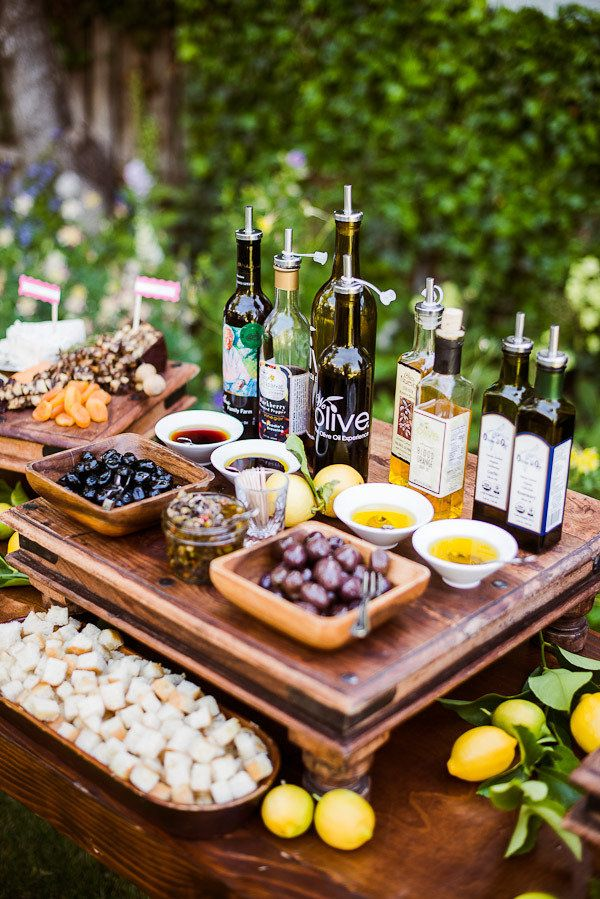 olive & oil bar! love this idea for an appetizer setup...