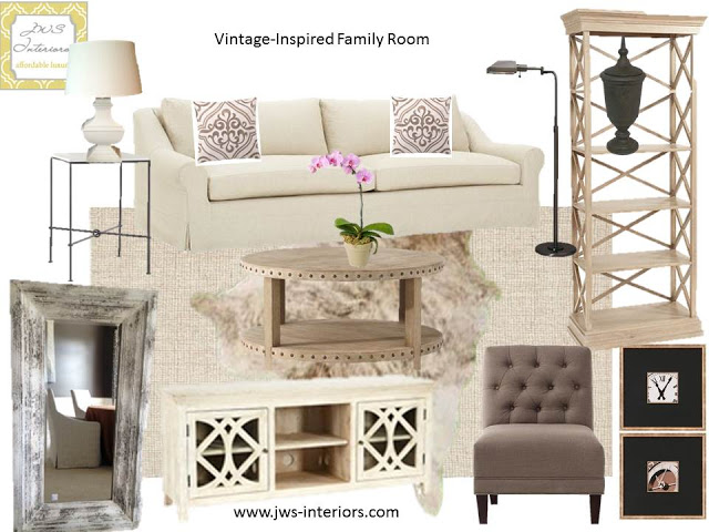 Neutral & Natural Family Room Design Board