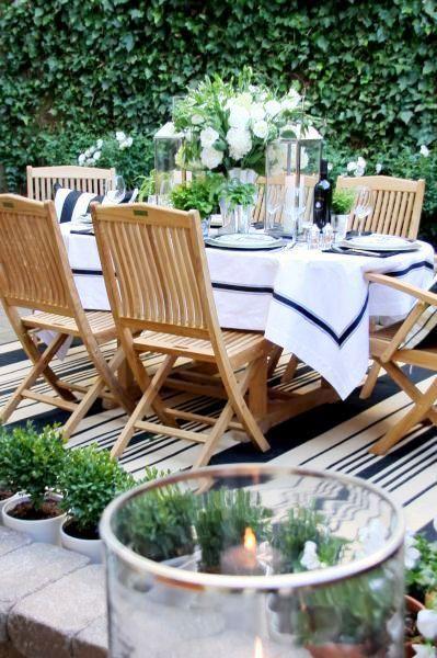 Alfresco dining - love the navy and white - For more traditional home ideas: hamptonyorkhomes.com.au