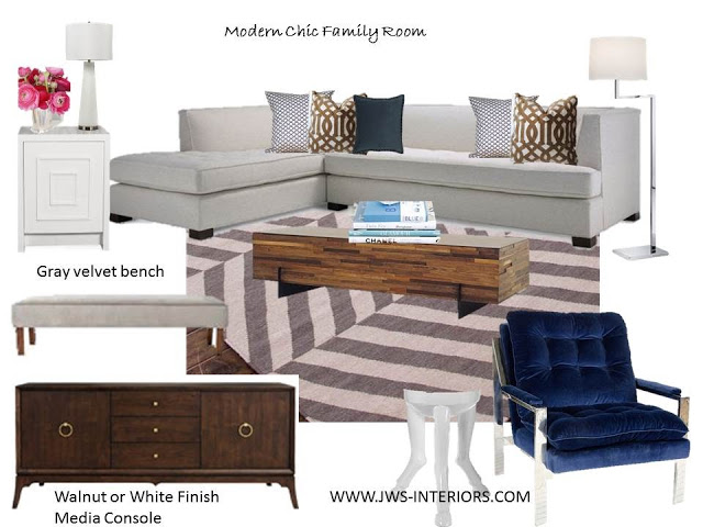 CURRENT PROJECT: Chic Family Room–Gray, White, Taupe & Navy