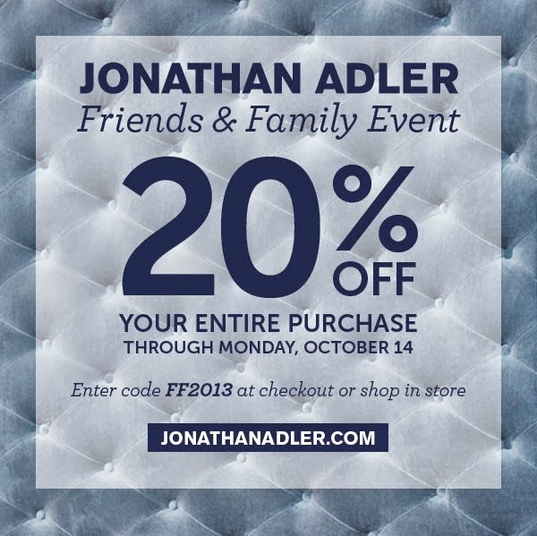 Jonathan Adler 20% off Friends and Family Sale
