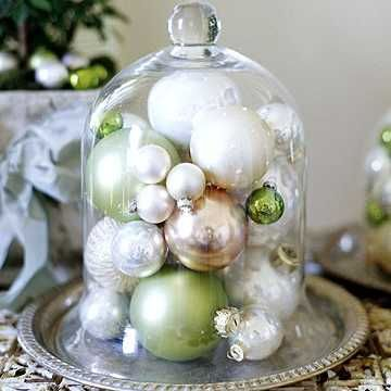 Holiday Decor with Ornaments under a Cloche