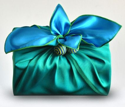 Love the fabric gift wrap