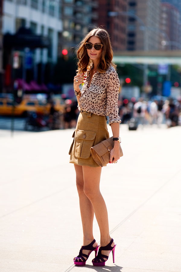 Olivia Palermo in a grey leopard blouse