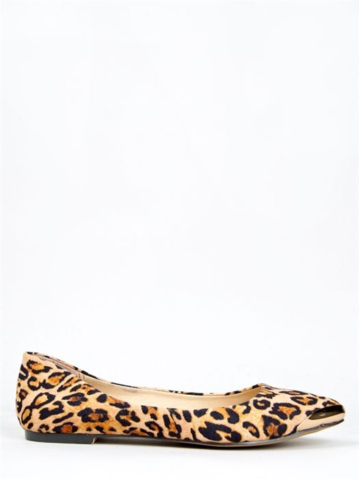 metal tipped, animal printed shoe