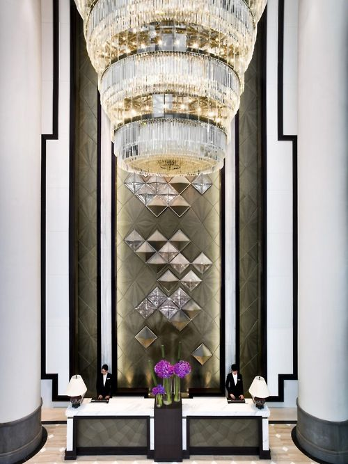 Dying to know where this is!!! Glamorous hotel lobby with an art deco flair. Love.
