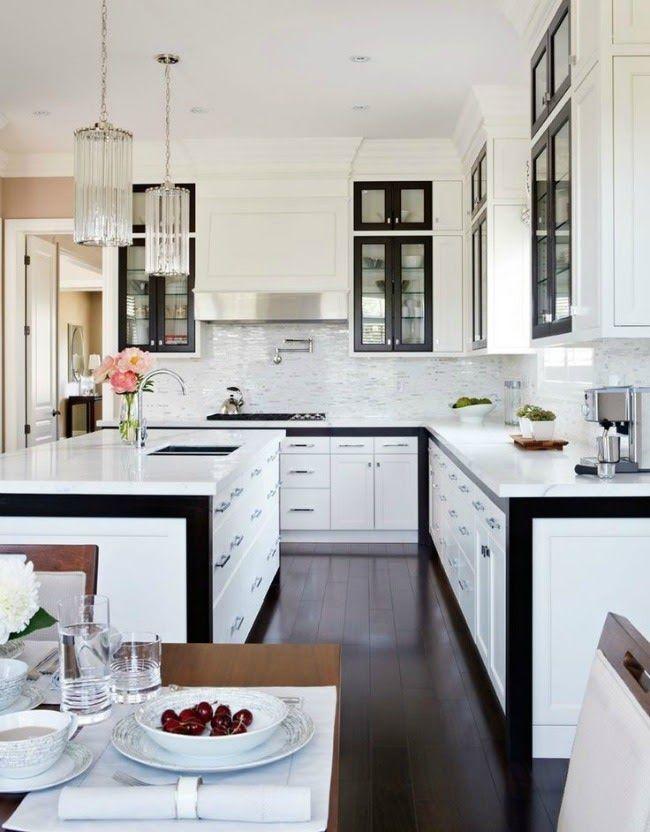 white cabinets + black trim