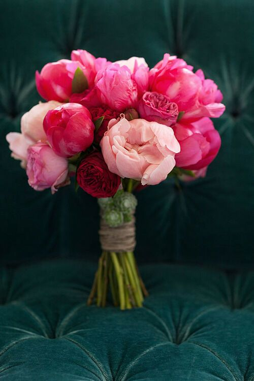 I like the string around the flowers.  Peonies
