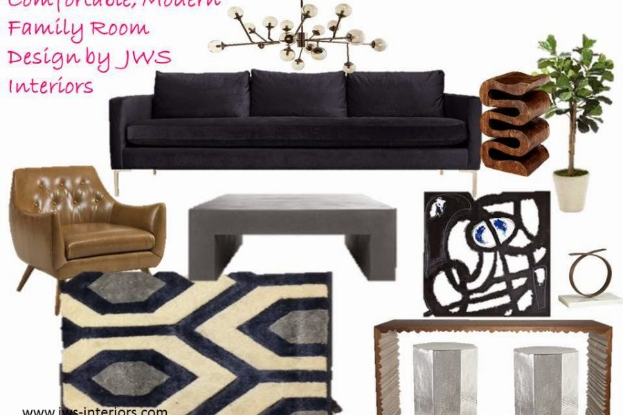 Modern Family Room Design Board