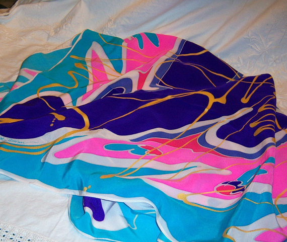 Vintage 1980s Silk Scarf Oversized 40 Inch Turquoise Pink Purple