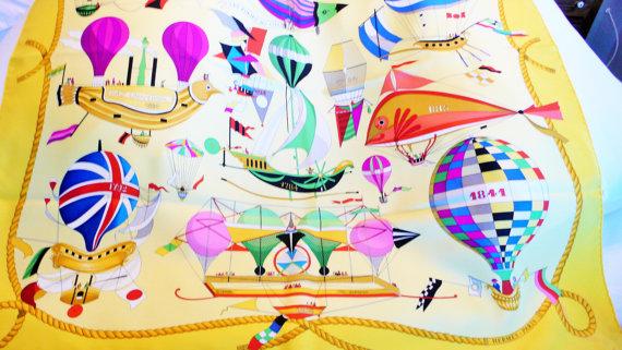 """Hermes """"Les Folies Du Ciel"""" Vintage Silk Scarf Loic Dubigeon"""