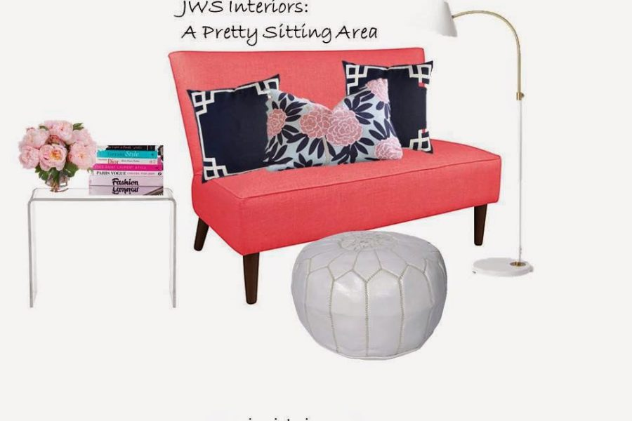 A Navy & Coral Sitting Area –Design Board and Links to Buy Everything!