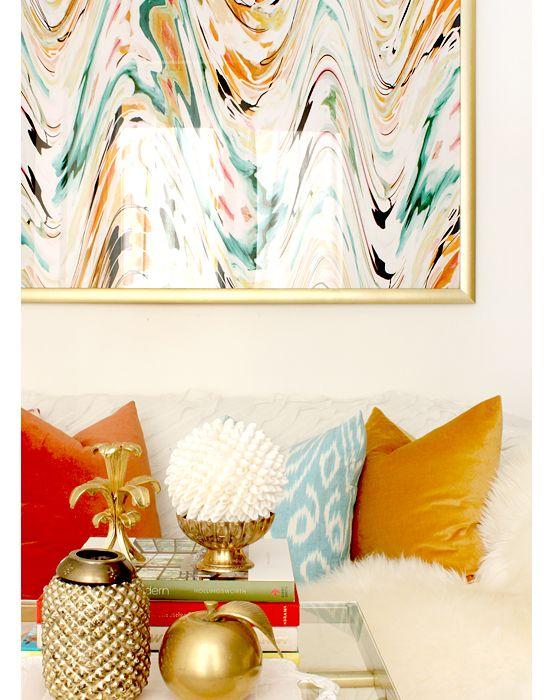 Living room, art, pillows