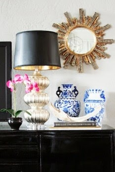 Design Details: Using Black Lamp Shades for a Touch of Glamour