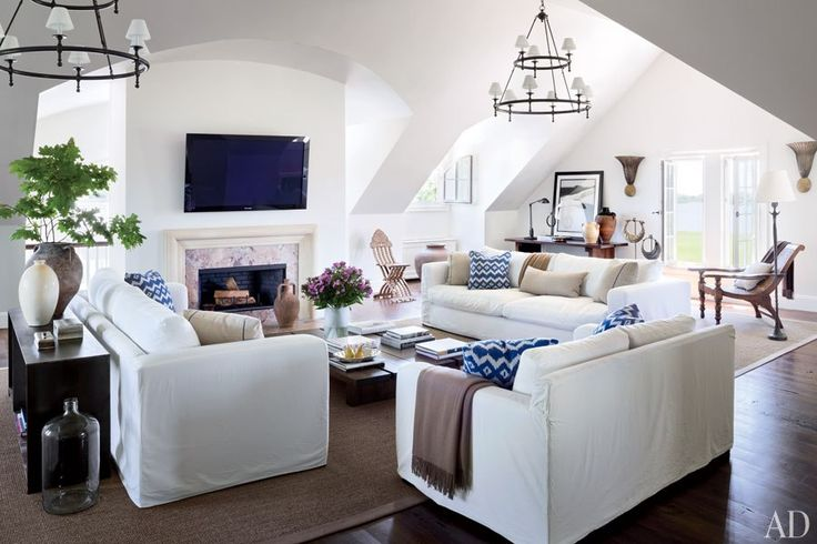 Media Room. Montauk sofas.  Vince Camuto's Jazz Age Manor in the Hamptons @Frankie Sholem