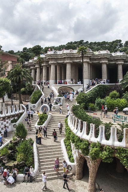 Gaudi steps in Park Guell, Barcelona, Spain