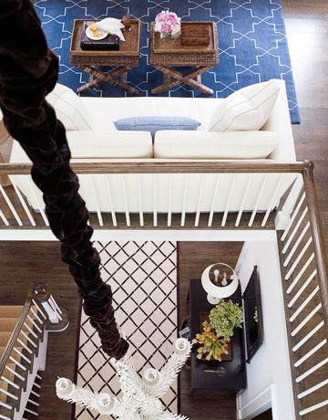 Madeline Weinrib Blue Brooke Tibetan Carpet via House Beautiful, Hamptons Beach house interior by David Lawrence