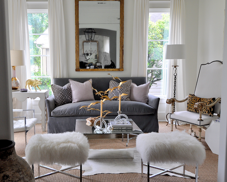 Sally Wheat Interiors - living rooms - Kelly Wearstler Ombre Maze Lilac, pillows, white, drapes, gold leaf, mirror, blue, slipcover, sofa, lilac, pillows, art deco, mirrored, coffee table, modern, white, shag, ottomans, stools, white, cowhide, rug, layered, sisal, rug, velvet sofa, gray sofa, gray velvet sofa,