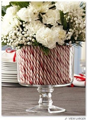 candy flower vase - an easy way to decorate for Christmas