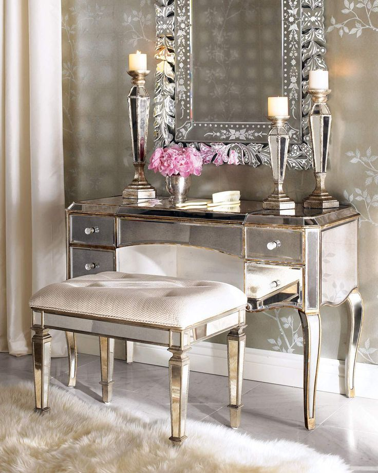 Claire Mirrored Vanity | Vanity Mirror Co.  Visit us for the entire source of glamour this vanity set provides. From our Jolie Venetian Mirror, to the mirrored desk and mirrored stool, you will sit so pretty, you will never feel like going on with your day!