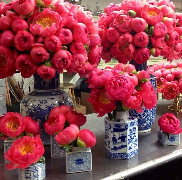 We love the bold pink blooms being designed in ceramic blue and white vessels.  Striking contrast!