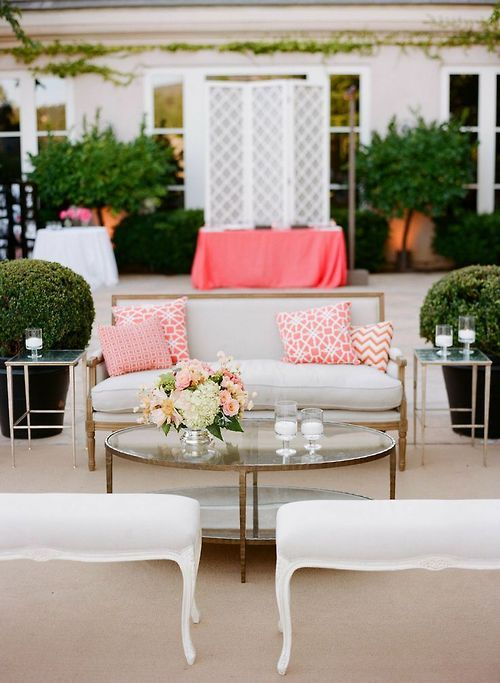 Patio with pink accents.