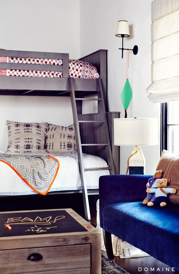 Eclectic Boy's Bedroom With Bunk Beds