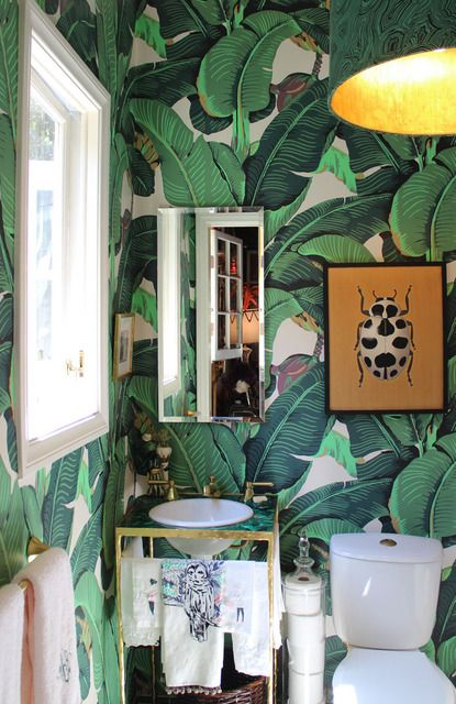 Martinique Wallpaper  love the big, bold print in a small space