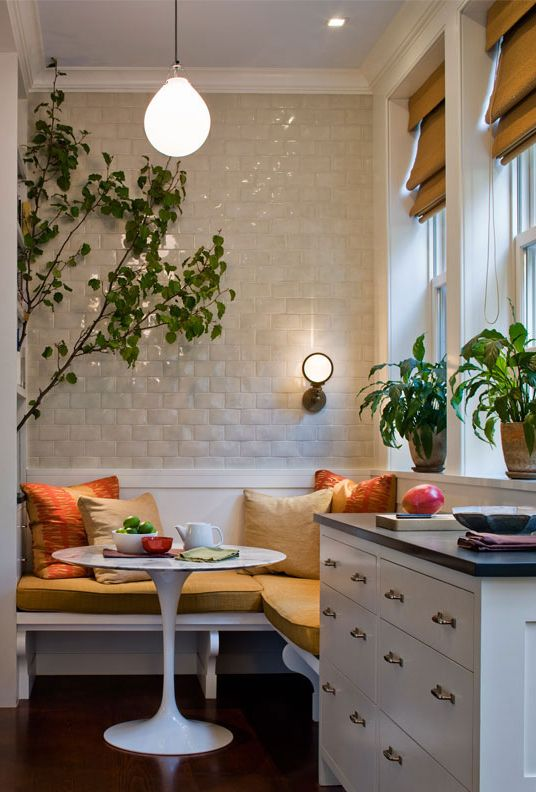 Breakfast nook // built in bench // A twist on standard subway tile // kitchen design