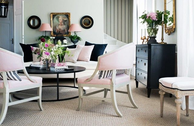 Pink and black upholstery