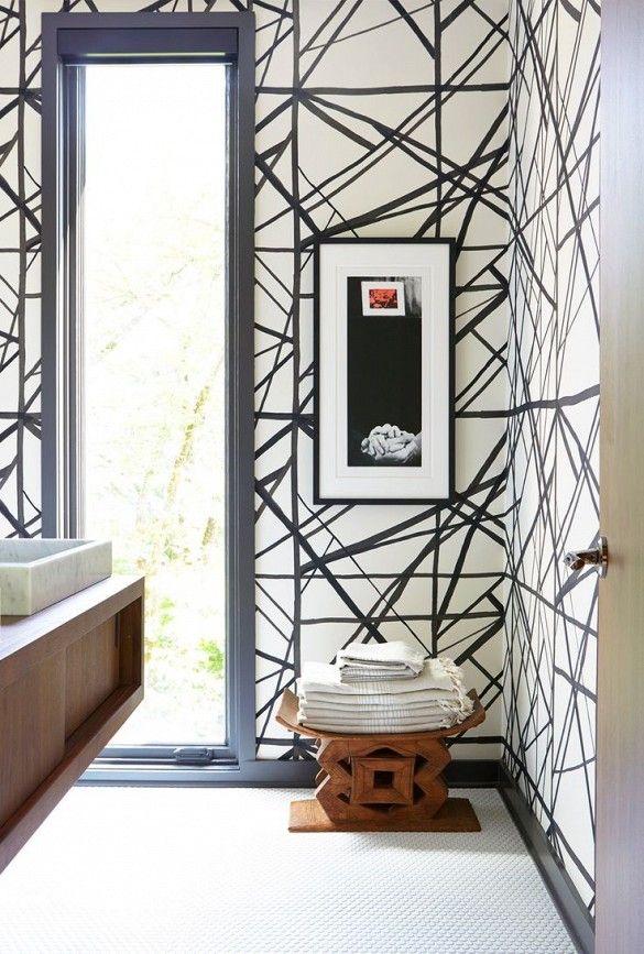 Wallpapered bath