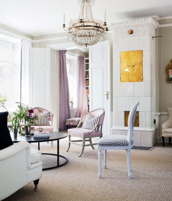 Pink upholstery and silk curtains