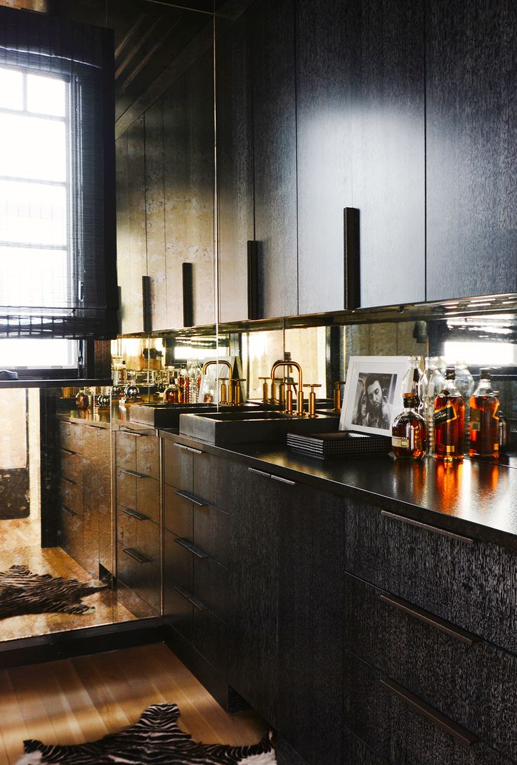 Black cabinets and home bar