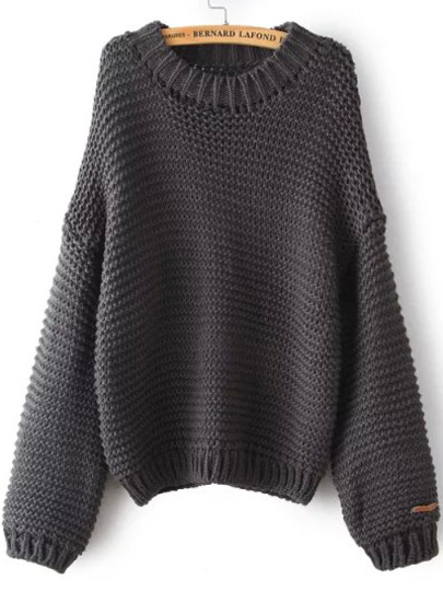 Grey Round Neck Chunky Loose Sweater pictures