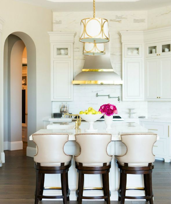 ... mix and chic // white marble kitchen // bar seating // glam kitchen: