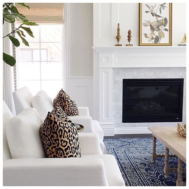 All-white room with navy and a touch of leopard...@studiomcgee you sure know the way to our heart! #myoklstyle #regram: