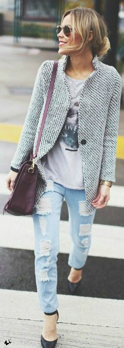 Street style boyfriend Jeans | More outfits like this on the Stylekick app! Download at http://app.stylekick.com: