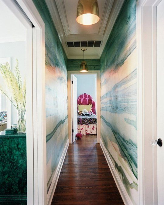 Gorgeous wallpaper & murals are a cure for boring hallways: