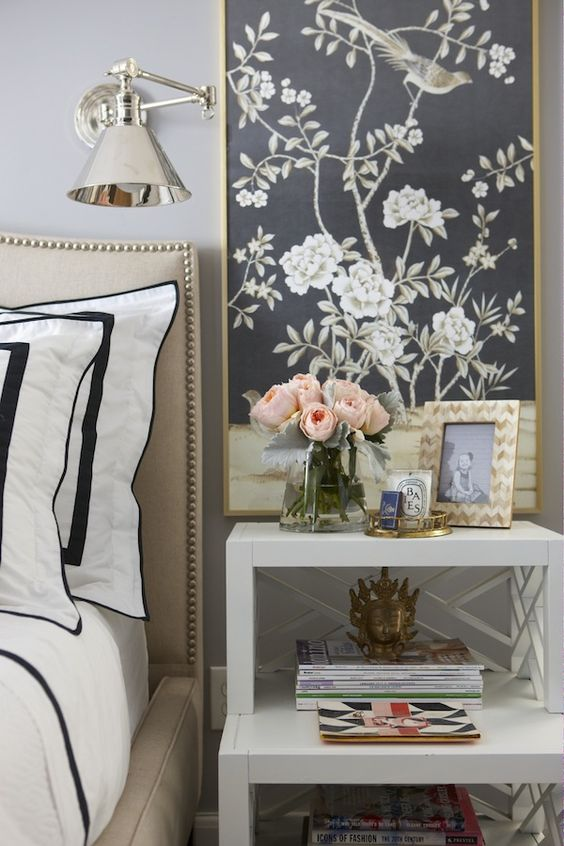 gorgeous bedroom vignette: