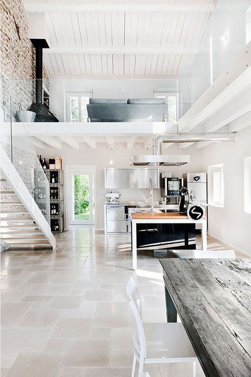 12 Loft Mezzanines: We weren't able to locate the designer behind this immaculately renovated Italian villa, but we're ready to move in. The clean lines of the stainless kitchen appliances and cabinetry offset the rustic whitewashed stone wall and farm table to perfection.:
