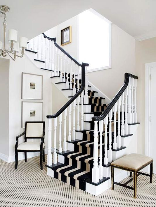 5 Ways to Dress Wood Stairs Dramatic. If you're looking to make a statement, a wide striped runner will do the trick. This eye-catching pattern enhances the dramatic contrast between the black and white tones present in this entry.: