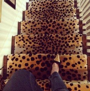 leopard print stair runner: