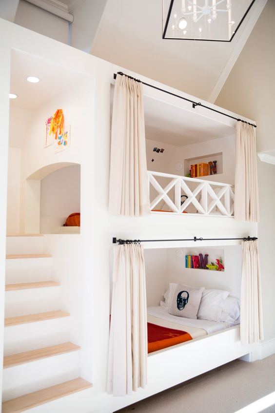 Bunk beds with built-in stairway and curtain rods | Amy Berry Design: