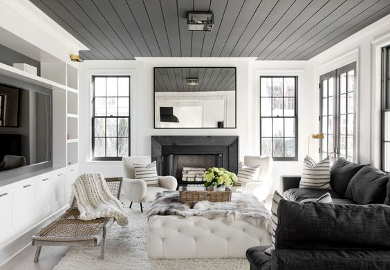 love the dark windows as alternative to steel.  Raccoon fur paint from benjamin moore on ceiling: