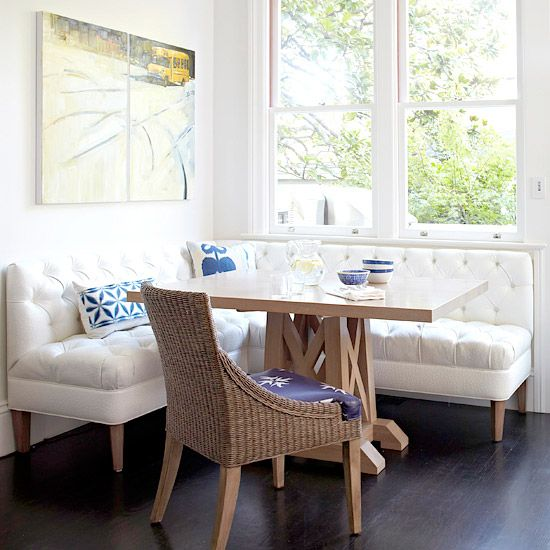 Comfy banquette would be right at home in a rustic cabin, and off-white would pop against wood paneling.: