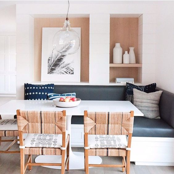 One of our favorite Southern California Designers @amberinteriors uses our Carson Dining Chairs in this airy kitchen dining nook. #designerseries #carsonchair #diningchair  Photo via @dominomag: