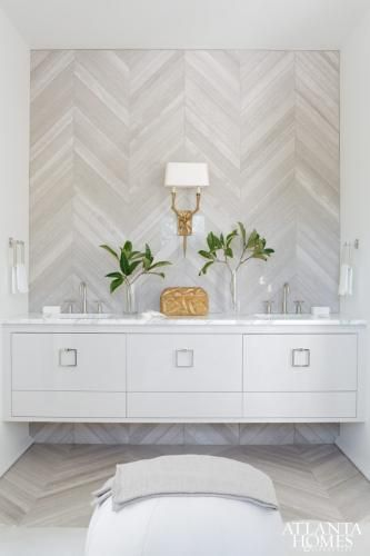 chevron tile up sides of wall. bathroom loveliness. melanie turner.: