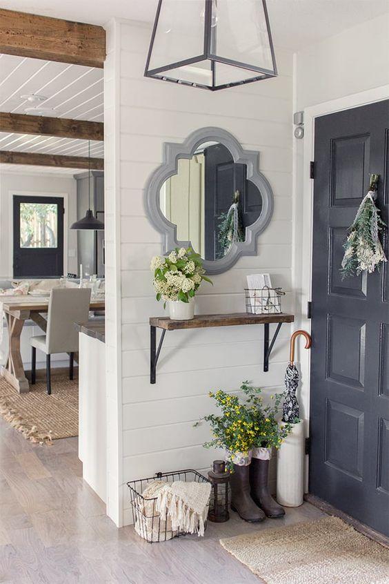 Gorgeous modern farmhouse entry. Shiplap walls.: