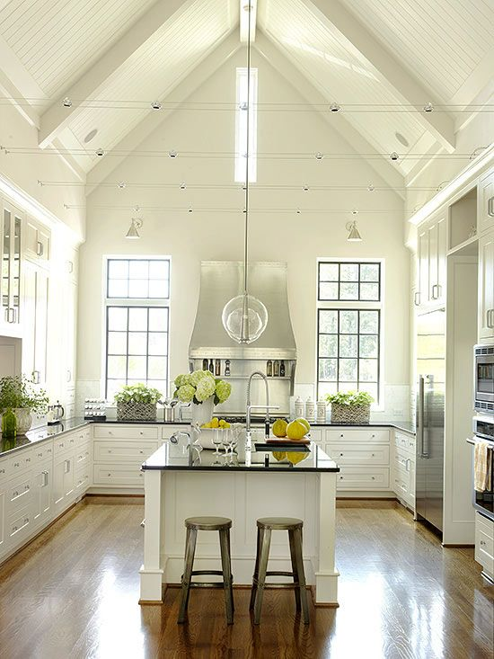 Modern farmhouses inside and out jws interiors for Great room lighting high ceilings
